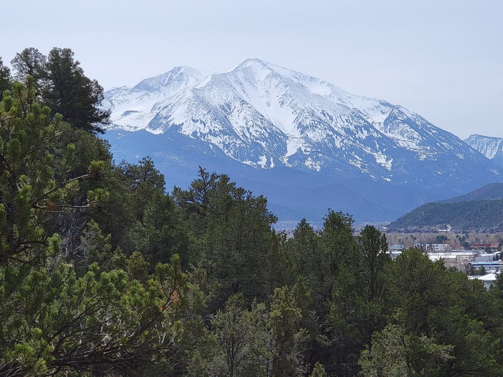 A snow covered Mount Sopris sitting over the town of Carbondale as seen from the lower section of the Mushroom Rock trail