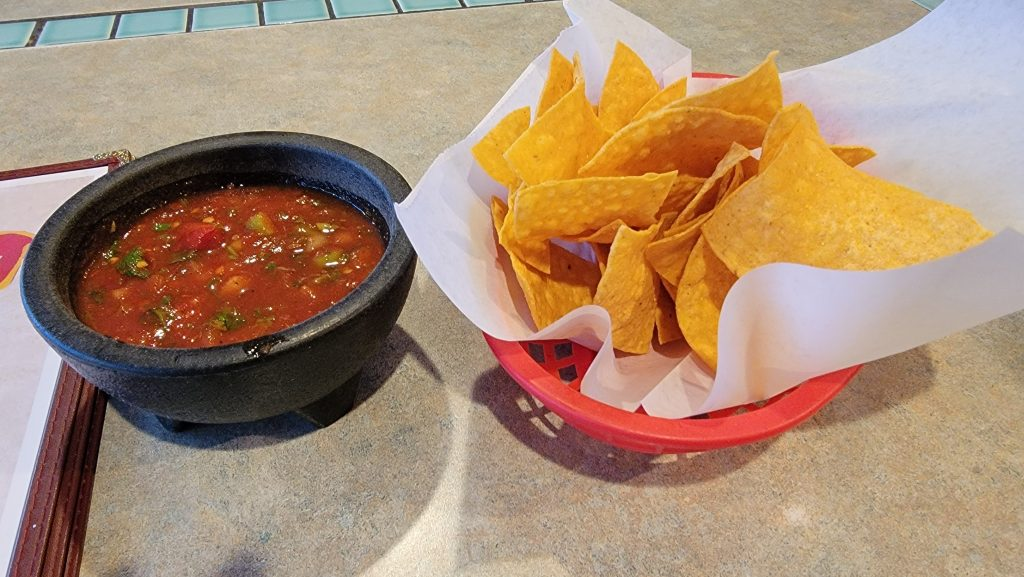 The chips and salsa from Fiesta Guadalajara in Fruita.  The salsa has large pieces of chopped vegetables in it.
