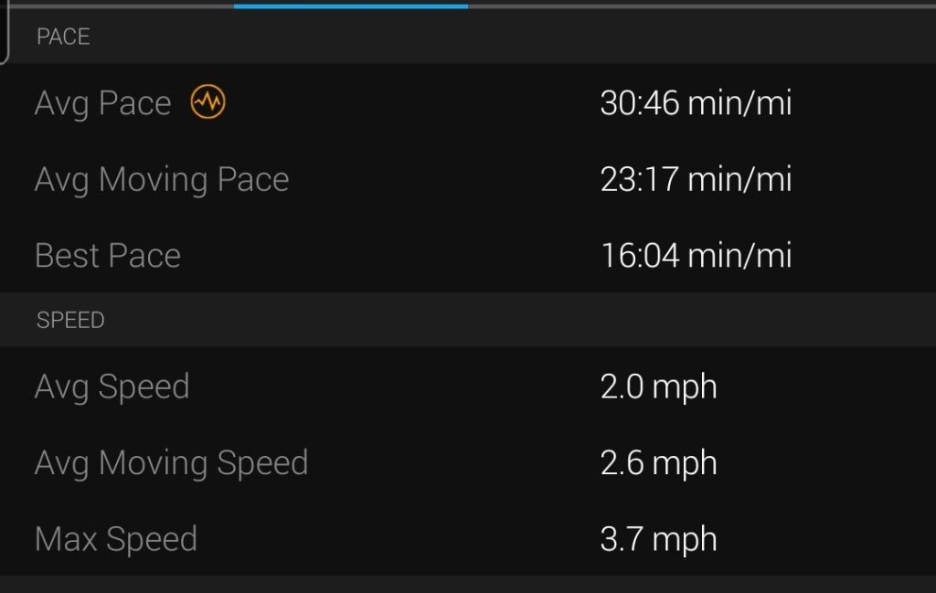 My average pace from the Garmin instinct watch was a 23:17 moving time.  Also my average speed for the Mason Creek trail was 2 miles per hour.