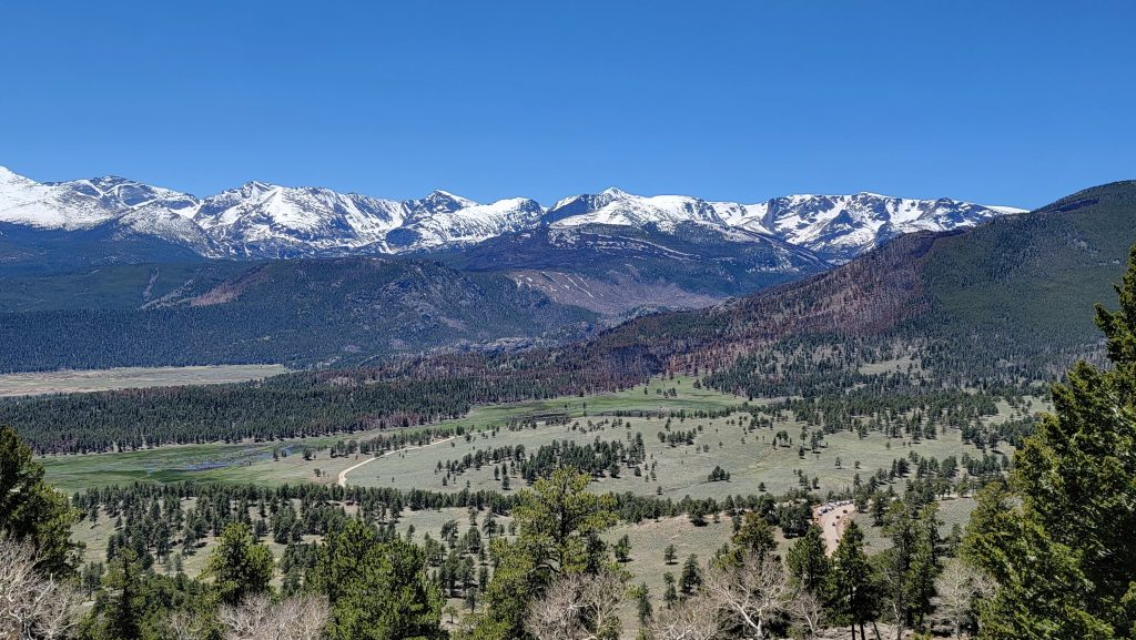 Rocky Mountain National Park from the Deer Mountain Trail.  This was taken just before the ticketed outdoor season in Colorado.